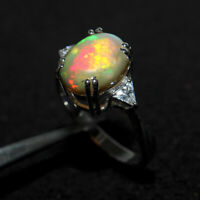 Oval Cabochon Ethiopian Opal Ring Floral High Polish SterlingSilver 4.25 ct