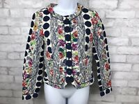 Anthropologie Isani Salta Quilted Floral Blue Polka Dot Jacket Size 4