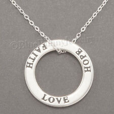"""LOVE FAITH HOPE Necklace Charm Pendant in circle 925 STERLING SILVER 18"""" chain"""