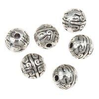 2 Kashmiri Perlen toll verzierte Tonperle Schwarz Kugel 15mm Indischeperlen R179