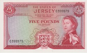 P9b JERSEY 1963 ISSUE £5 BANKNOTE IN MINT CONDITION.