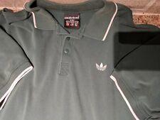 VTG 90's Adidas Men's L Polo Shirt Green Three Striped Embroidered Logo