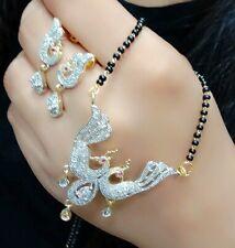 Bollywood Peacock Black Wedding Love Mangalautra Mala Gold Plated Necklace India