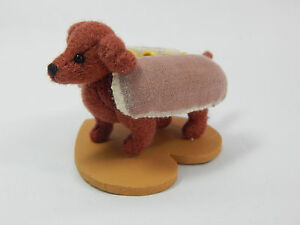 "World of Miniature Bears By Theresa Yang 2.5x1.5"" Hot Dog Franklin #1149 CLOSING"