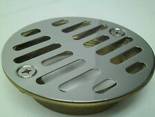 "2"" Cast Brass Shower Drain With Chrome Strainer See Photos! Free Shipping! Kb"