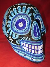 Huichol Tribe Mexican Folk Art Life-Sized Beaded Blue Skull With Sacred Designs