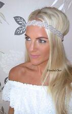 Silver Diamante Diamond Wide Twist Vintage Hair Head Band Infinity Bridal Bride