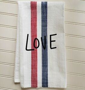 New FARMHOUSE STYLE Red White Blue LOVE Stripe Kitchen Tea Towel by ED
