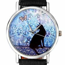 Fashion Women Watch Retro Cat Pattern Analog Leather Bracelet Quartz WristWatch