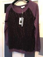 designer Ladies Joseph A Purple & Black Lace Detail Long Sleeved Top Size MEDIUM