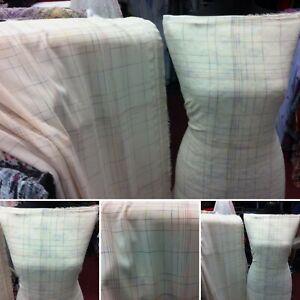 New*quality soft flowy cream georgette geometric line print Dress Fabric 58''w