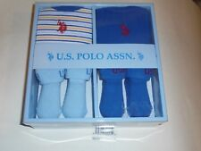 U.S. Polo Assn. Baby 4 Piece Gift Set. Blue For Boys 0/6 months