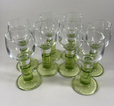 LIMONCINO CORDIAL LIQUEUR GLASSES CLEAR WITH GREEN STEMS SET OF 8