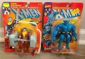 Lot of 2 1993/1994 Marvel X-Men ToyBiz Colossus & Beast Figures Damaged Cards