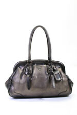 Prada Womens Metallic Pebbled Leather Tote Handbag Silver Tone