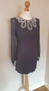 French Connection Ladies Grey Beaded Sequin Embellishment Dress UK 10 100% Silk