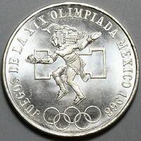 1968 Mexico 25 Pesos Aztec Warrior PL Gem UNC Silver Olympic Coin (19100408R)