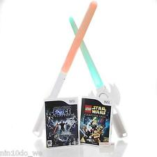 Wii STAR WARS Bundle=LEGO Complete Saga+Force Unleashed+2 Lightbabers +FREE TOY!