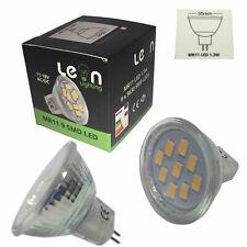 10 x MR11 1.3w LED Lamp 35mm Diameter 38° Beam Angle 3000k 12v AC DC Warm White