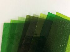 Stained Glass Tools/ Supplies Glass Pack 8 Selected Shades of Green c