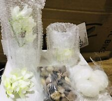 Hestia Set of 2 Floating Candles with Vases and White Flowers on a Mirrored Base