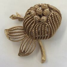 Neat!!! MONET Vintage Signed Textured Costume Goldtone 3D Puffy Flower Brooch