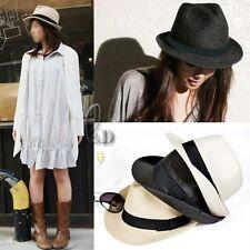 Unisex Vintage Style Derby Trilby Jazz Cap Sun Straw Hat hat010