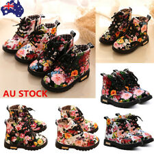 AU Kids Baby Girls Flowers Fur Martin Shoes Toddler Princess Lace Up Ankle Boots