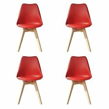Tulip Dining Chairs, Solid Wood Legs, ABS Plastic, Padded Design