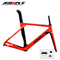 T1000 Carbon Fiber Road Bike Frame 700c Disc Bicycle Frameset Fork Seatpost Red