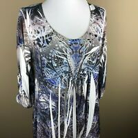 Unity World Maternity 3/4 Sleeve Top Blouse Size S Blue Tan, Paisley, Sequins
