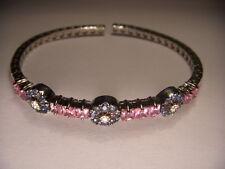 Stunning 18K White Gold Pink Blue Sapphire Diamond Floral Bangle Bracelet