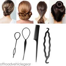 4PCS/Set Black Magic Topsy Tail Hair Braid Ponytail Styling Maker Clip Tool UK