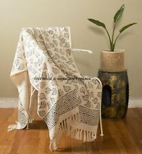 LARGE SIZE 100% Cotton Woven Sofa Bed Throw Blanket Bedspread Leaf Print Cover