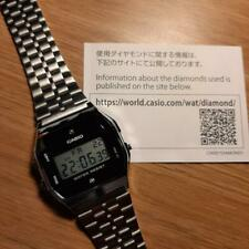 Casio A159WAD-1 W/ Natural Diamonds Digital Steel Watch Made in Japan A159