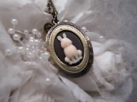 BUNNY RABBIT Locket Necklace JEWELRY Pendant PHOTO bronze EASTER CAMEO memory