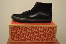 NUOVO CON SCATOLA Vans SK8 Hi Stivali neri in pelle scamosciata, Hi-Tops, Scarpe da Ginnastica Old Skool Sneaker. UK 9