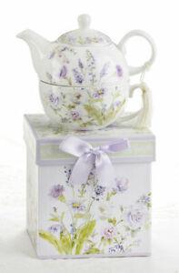 Delton Porcelain Tea for One Gift Set  Stacked Teapot & Cup  LAVENDER ROSE