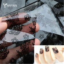 DIY Magic Nail Art Water Transfer Stickers Black Lace Flower Manicure Decoration