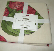 Williams Sonoma Botanical Red Strawberry Kitchen Towels Set Of 2 Brand New