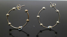 sterling silver ball link effect hoops with stud butterfly clasp stamped 925