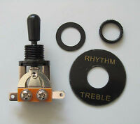 Black LP Style Guitar 3 Way Toggle Switch and Black Plate fits Epiphone LP SG