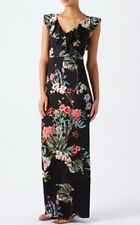 "💕 MONSOON ""OZARA"" DRESS SZ 16 BLACK FLORAL JERSEY MAXI WEDDING EVENING 💕"