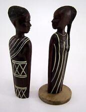 Afrikanische Skulpturen Holzfiguren zwei Frauen Damen 23,5 & 22,5 cm