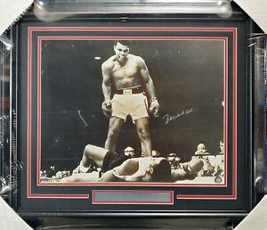 Muhammad Ali Autographed Framed 16x20 Photo Over Liston (Damaged) Beckett A53350