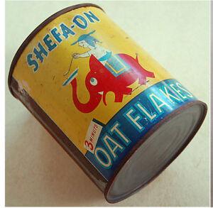 1950 Israel LITHO TIN BOX Kosher OAT FLAKES CAN Judaica JEWISH Hebrew ELEPHANT