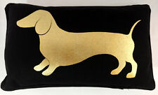 Dog Dachshund Pillow 8 x 13 Black Gold Metallic Home Sofa Couch Decor Rectangle