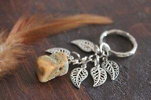 Gorgeous Handmade Earthy Colour Stone &Silver Leaf Feather Charm Dangle Keyring