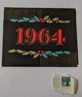 USED Vintage 1965 Mid Century Christmas Greeting Card & Cancelled Stamp 1963