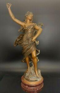 """Auguste Moreau (1834-1917) Bronze - Zamac statue 'Chanson du printemps' 18.5"""" T"""